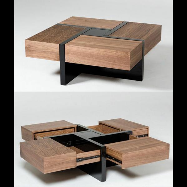 Επίπλωση Σπιτιού - Μοντέρνα τραπεζάκια σαλονιού από ξύλο καρυδιάς με μαύρο τζάμι και τέσσερα συρτάρια